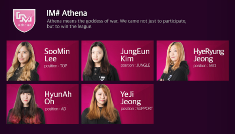 Team Athena, HyeRyung Jeong aka Female Faker's team